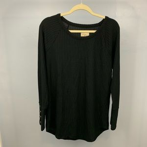 Sweaters - Chasor | Black Waffle Knit Sweater Size XL